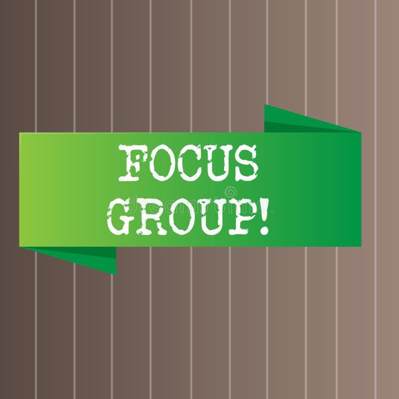 显示焦点群的文本标志 概念性照片陈列被装配参加关于产品空白的讨论 库存例证
