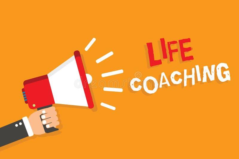 显示生活教练的概念性手文字 企业照片陈列由挑战改进生活鼓励我们在我们的事业 向量例证