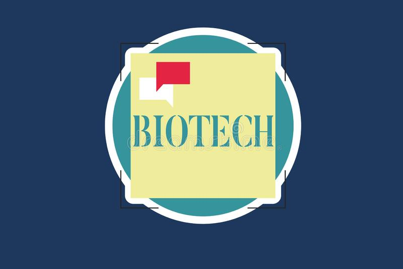 显示生物科技的文本标志 概念性照片研究分析生物学过程基因操作科学 向量例证