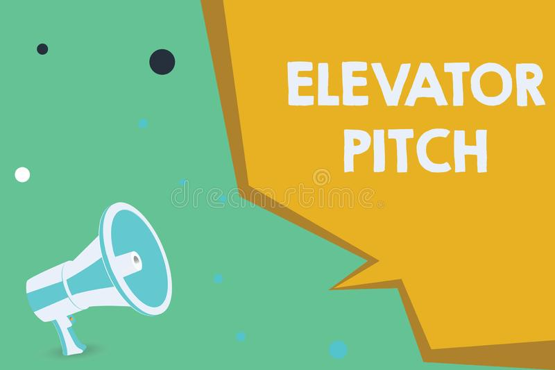 显示电梯沥青的概念性手文字 陈列A令人信服的销售摊点摘要讲话关于产品的企业照片 向量例证