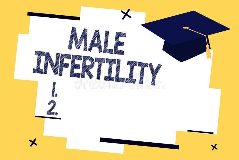显示男性不育的文本标志 男性的概念性照片无能导致怀孕在肥沃 库存例证