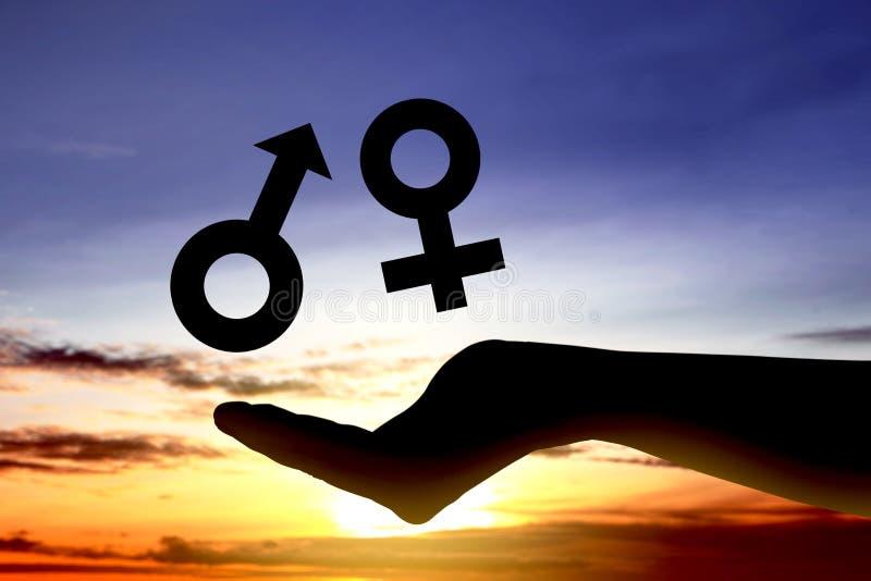 显示男性性别和女性性别的标志开放手是相等的 库存图片