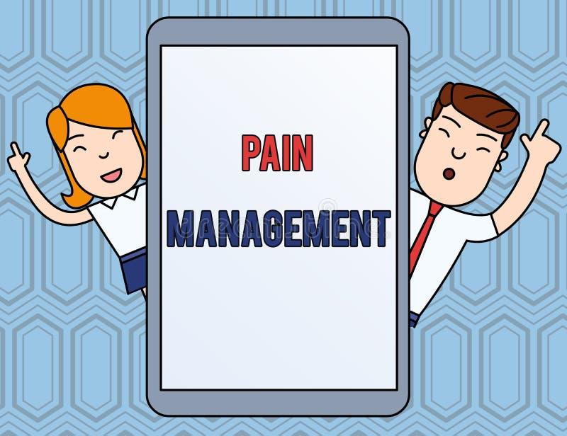 显示痛苦管理的文本标志 概念性照片雇用一个多学科互动男性的医学部门 库存例证
