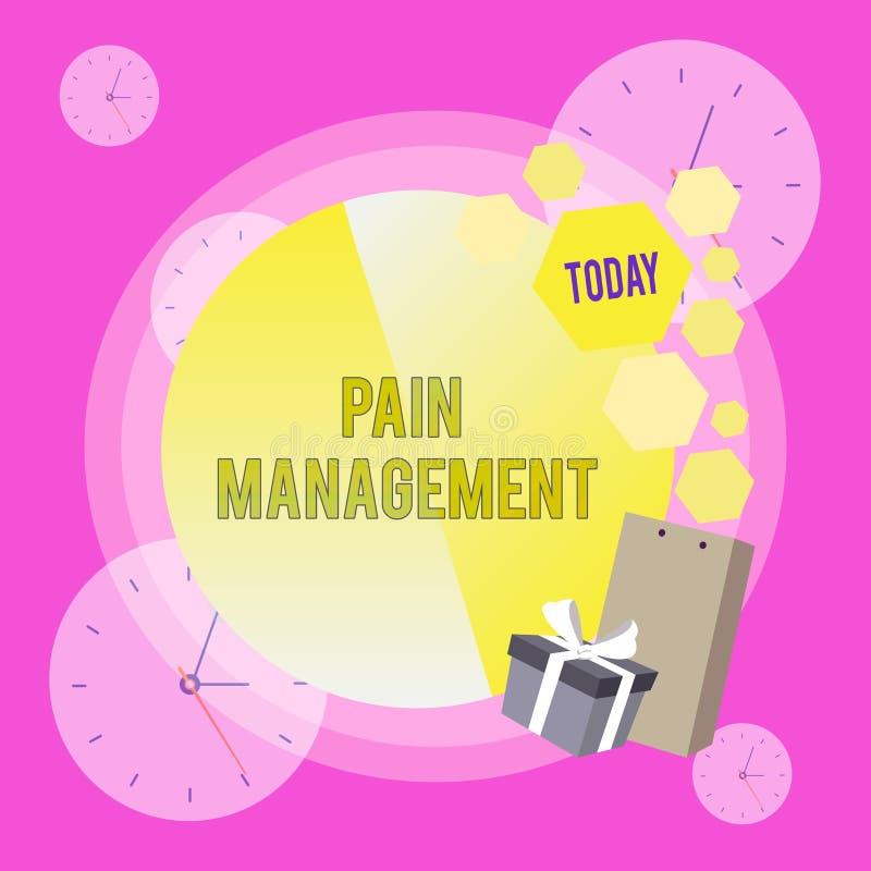 显示痛苦管理的概念性手文字 企业照片陈列使用的医学部门  库存例证