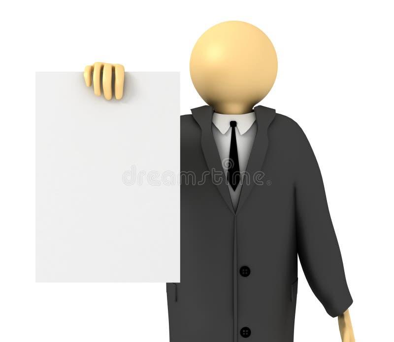 显示白纸的商人 库存例证