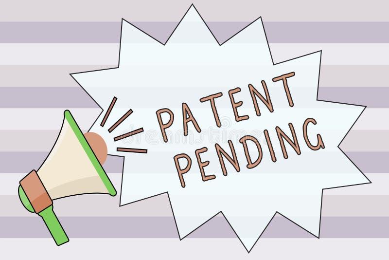 显示的文本标志专利审理 已经提出,但是不被授予的概念性照片请求追求保护 库存例证