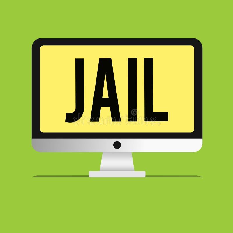 显示监狱的文本标志 人的禁闭的概念性照片地方被指责和被判罪罪行 皇族释放例证