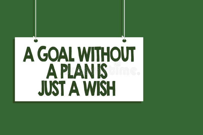显示目标的文字笔记没有计划是愿望 企业照片陈列做战略到达垂悬b的宗旨 向量例证