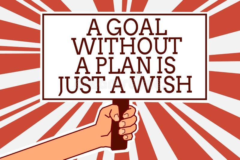 显示目标的文字笔记没有计划是愿望 企业照片陈列做战略到达宗旨人手 库存例证