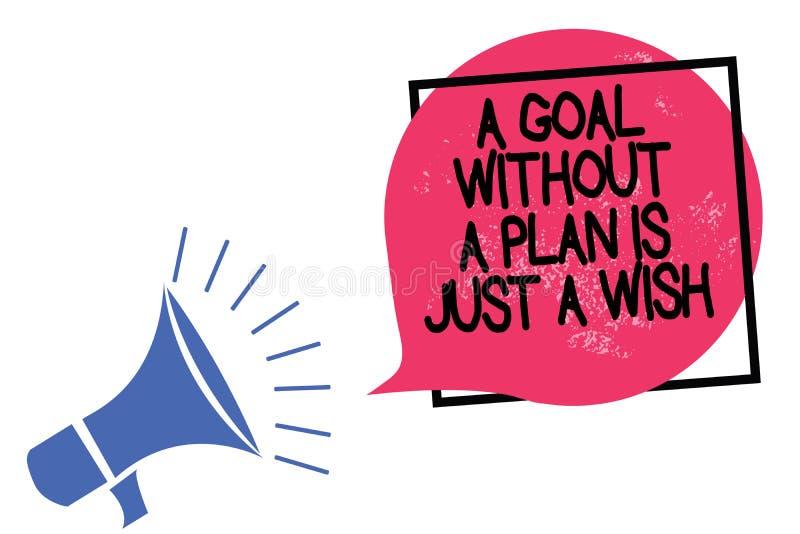 显示目标的文字笔记没有计划是愿望 企业照片陈列做战略到达宗旨扩音机 库存例证