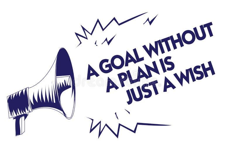 显示目标的文字笔记没有计划是愿望 企业照片陈列做战略到达宗旨蓝色兆 向量例证