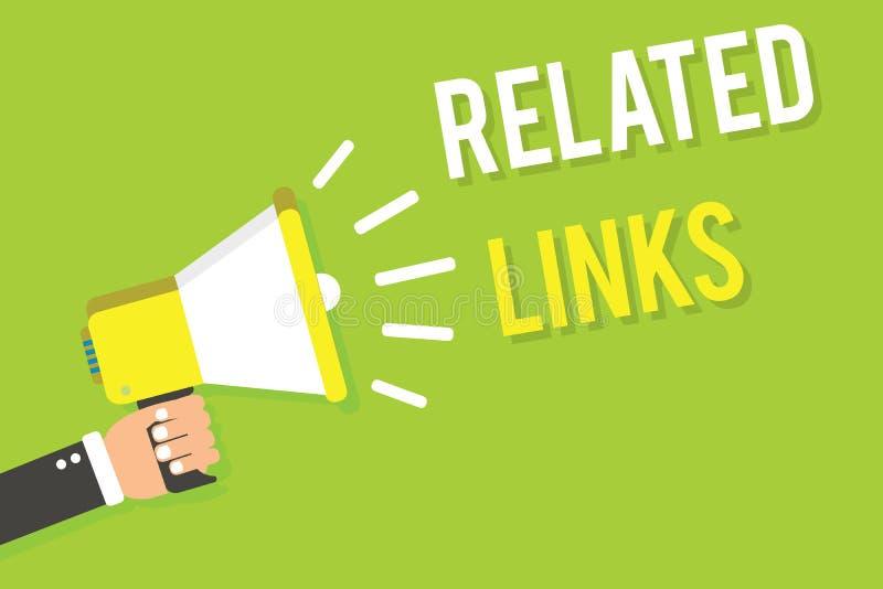 显示相关链接的概念性手文字 企业照片在网页参照Hotlinks超链接Ma里面的文本网站 库存例证
