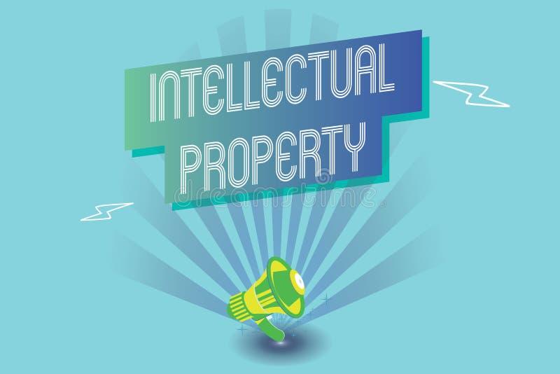 显示知识产权的文字笔记 企业照片陈列保护免受越权应用给予专利的工作或 向量例证