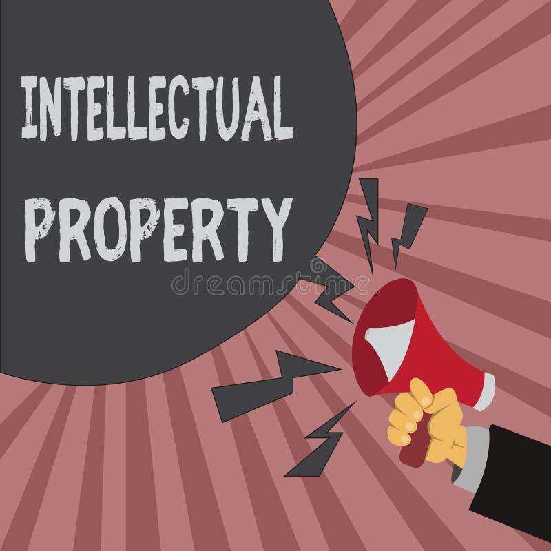 显示知识产权的概念性手文字 企业照片陈列保护免受给予专利的越权应用 皇族释放例证