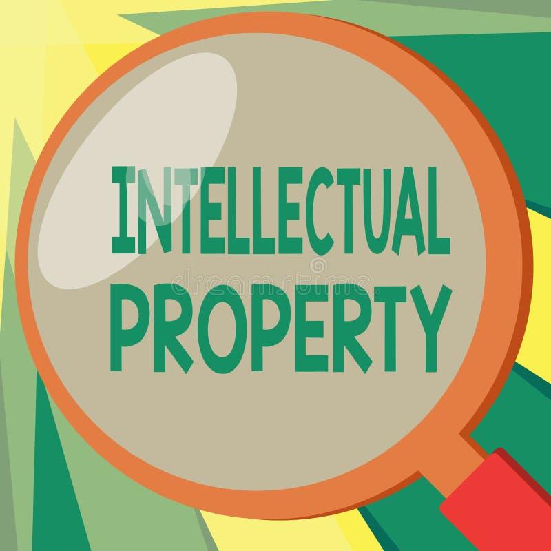 显示知识产权的概念性手文字 企业照片陈列保护免受给予专利的越权应用 库存例证