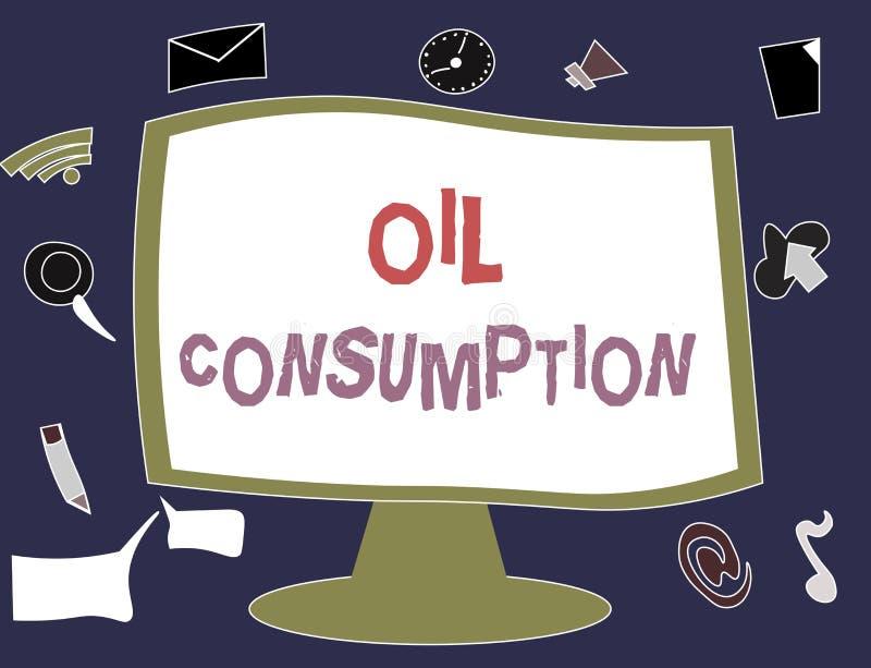 显示石油消耗的文字笔记 陈列这个词条的企业照片是在桶消耗的总油每天 向量例证