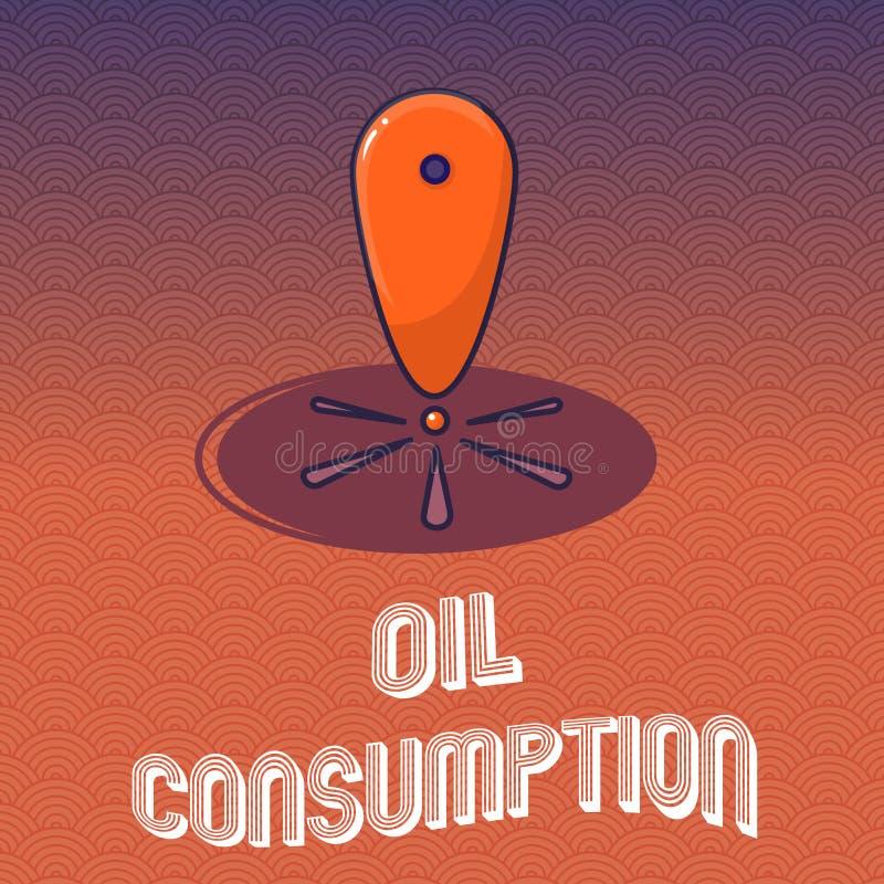 显示石油消耗的文本标志 概念性照片这个词条是在桶消耗的总油每天 向量例证