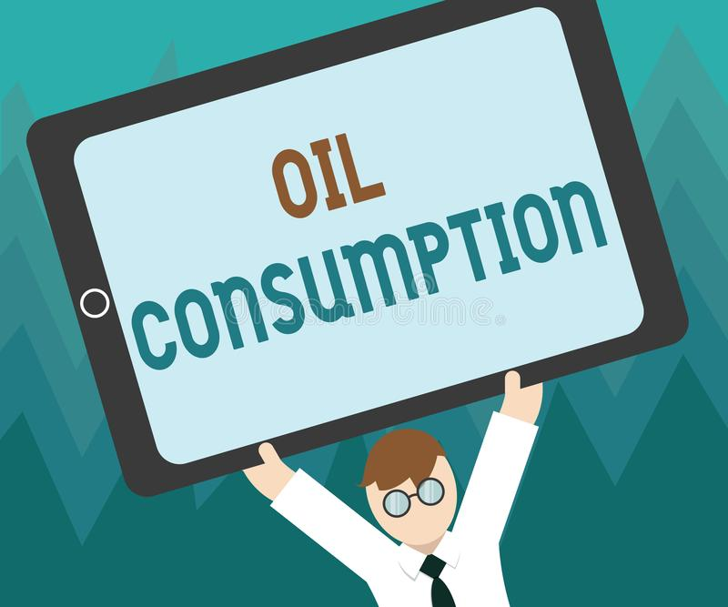 显示石油消耗的概念性手文字 陈列这个词条的企业照片是在桶消耗的总油每天 皇族释放例证