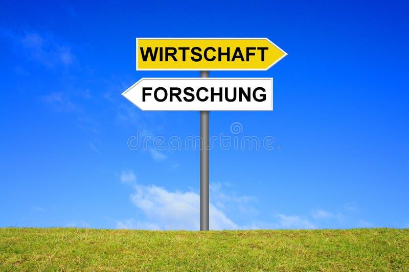 显示研究和经济德语的路标 库存照片