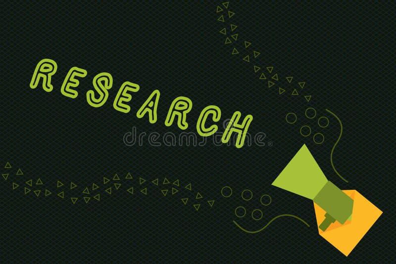 显示研究的文字笔记 陈列系统的材料的调查入和研究企业照片和 向量例证