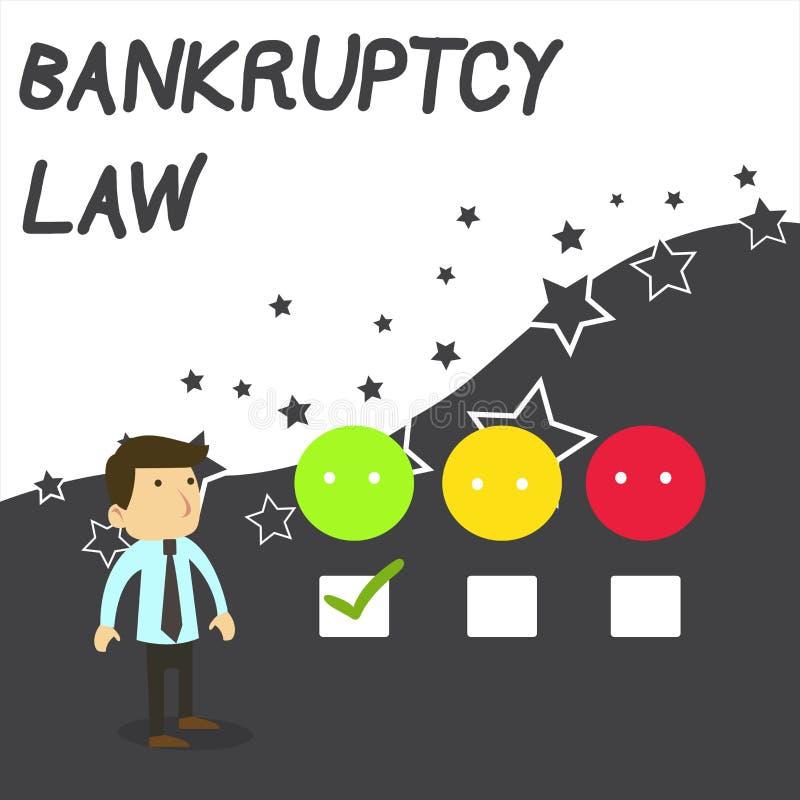 显示破产法的文本标志 概念性照片被设计帮助在得到债家的财产的债权人白色 库存例证