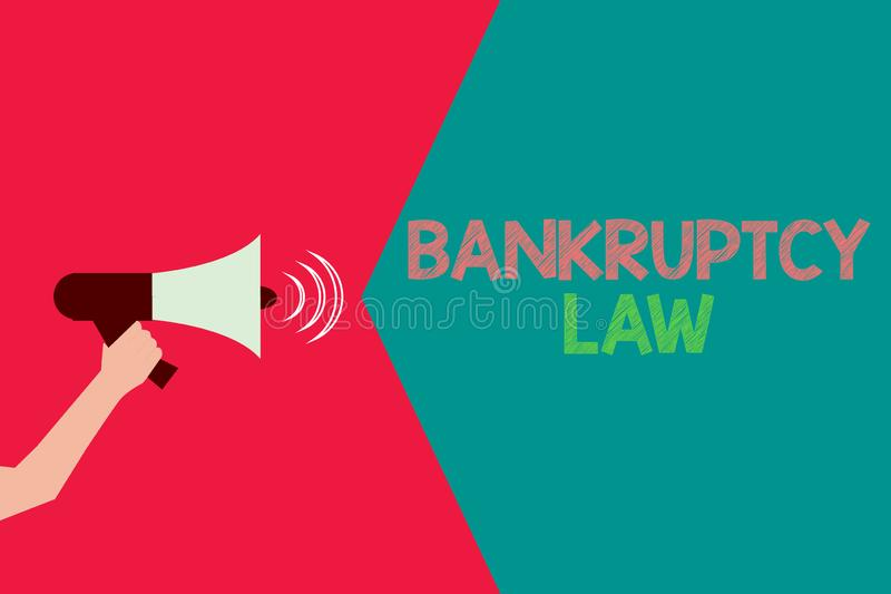 显示破产法的概念性手文字 企业照片文本设计帮助在得到债家的财产的债权人 向量例证