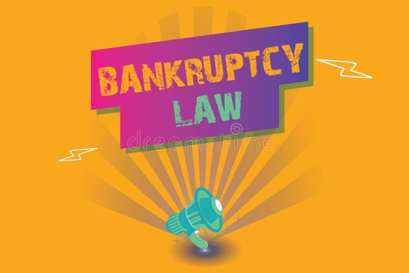 显示破产法的概念性手文字 企业照片文本设计帮助在得到债家的财产的债权人 皇族释放例证