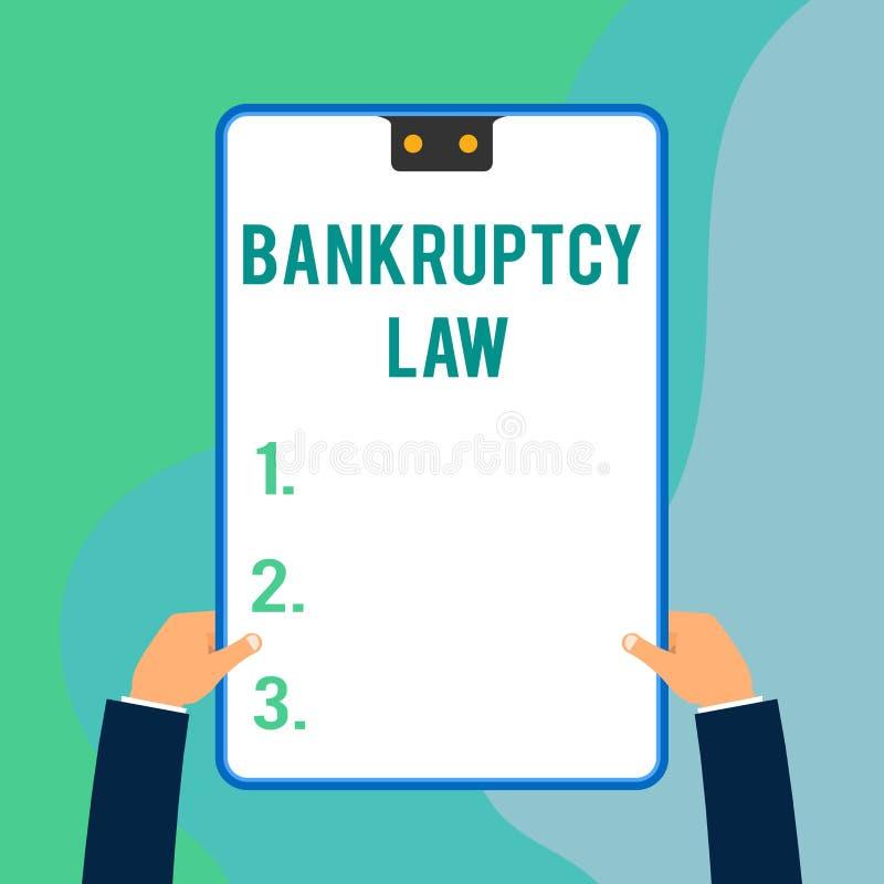 显示破产法的概念性手文字 企业照片文本设计帮助在得到财产的债权人  库存例证