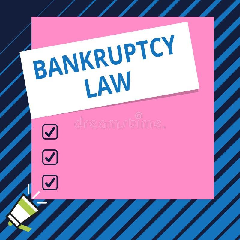 显示破产法的概念性手文字 企业照片陈列被设计帮助在得到财产的债权人 库存例证