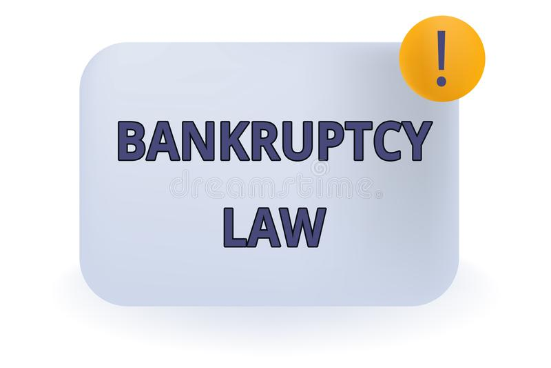 显示破产法的概念性手文字 企业照片陈列被设计帮助在得到财产的债权人 皇族释放例证