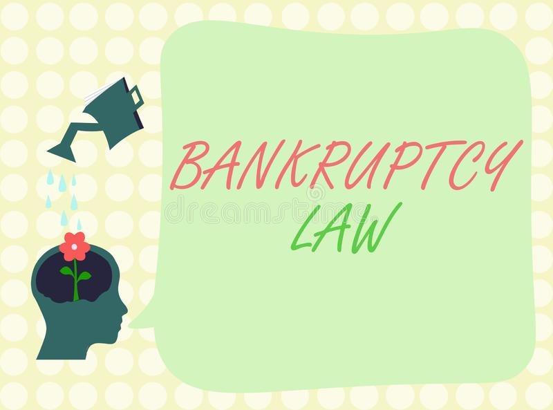 显示破产法的概念性手文字 企业照片陈列设计帮助在得到de的财产的债权人 向量例证