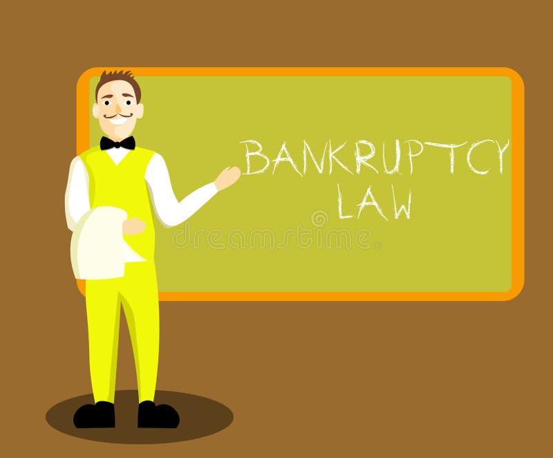 显示破产法的概念性手文字 企业照片陈列设计帮助在得到de的财产的债权人 库存例证