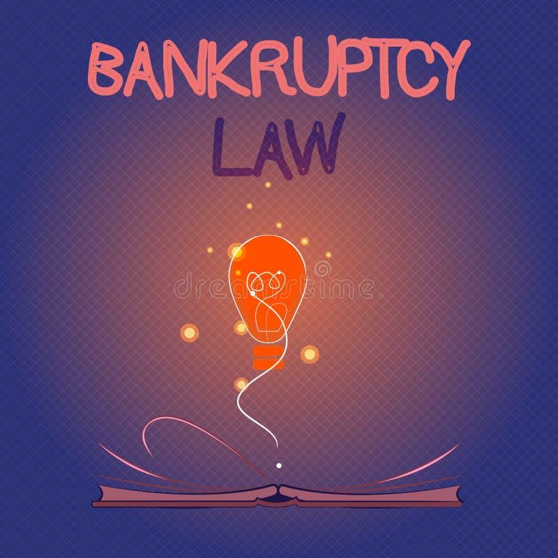 显示破产法的概念性手文字 企业照片陈列设计帮助在得到de的财产的债权人 皇族释放例证