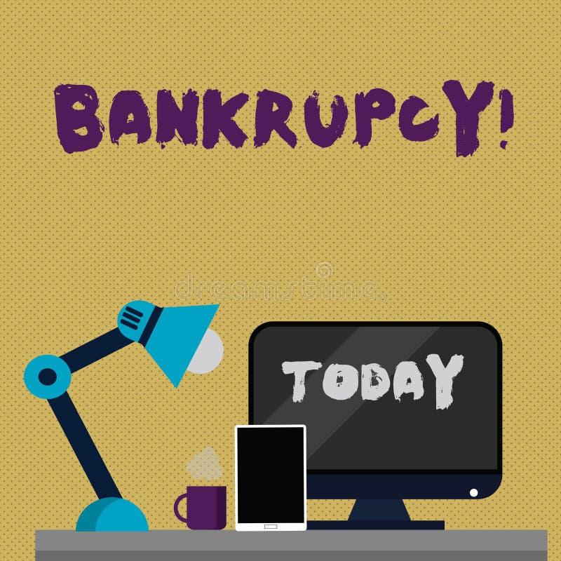 显示破产的文字笔记 在金融危机下的企业照片陈列的公司破产与下降 库存例证