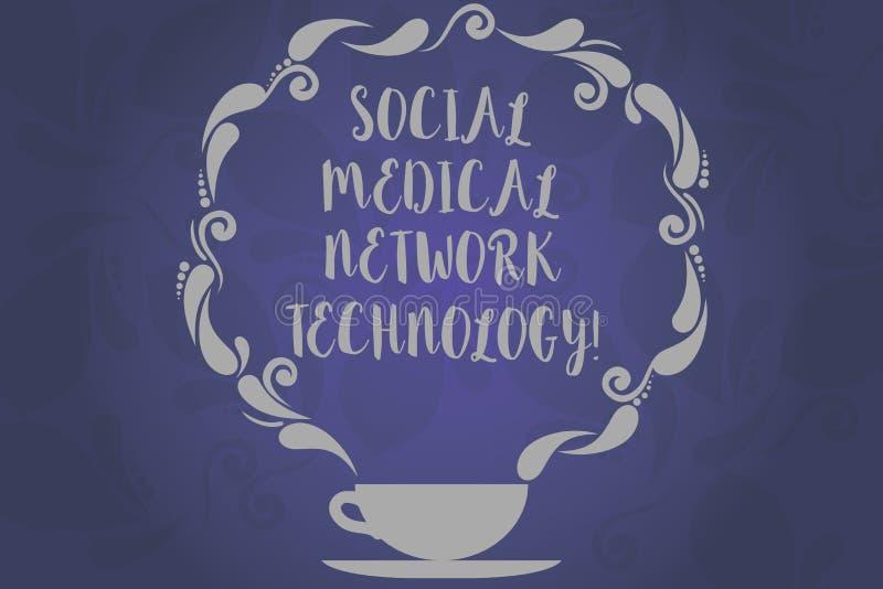 显示社会医疗网络技术的概念性手文字 企业照片文本网上现代网络 库存例证