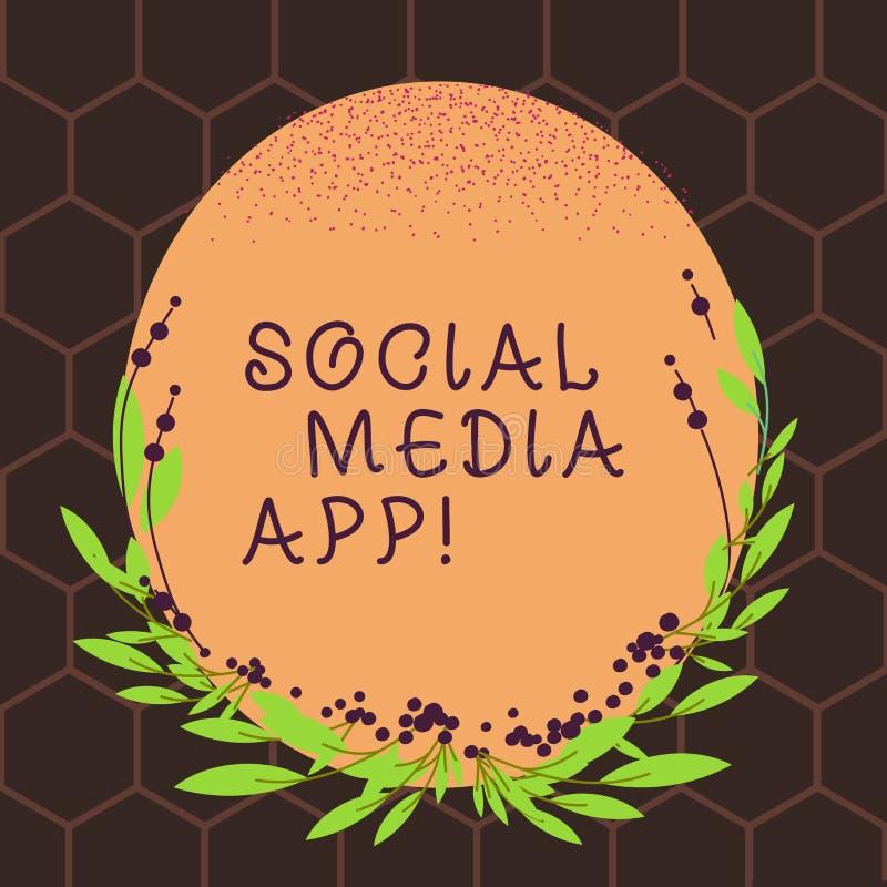 显示社会媒介应用程序的文本标志 概念性照片创作和分享想法事业兴趣通过互联网空白 皇族释放例证