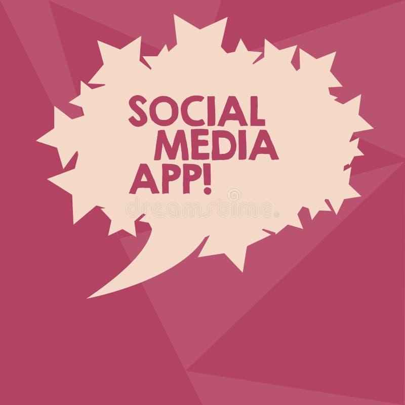 显示社会媒介应用程序的概念性手文字 企业照片文本创作和分享想法事业兴趣通过 皇族释放例证