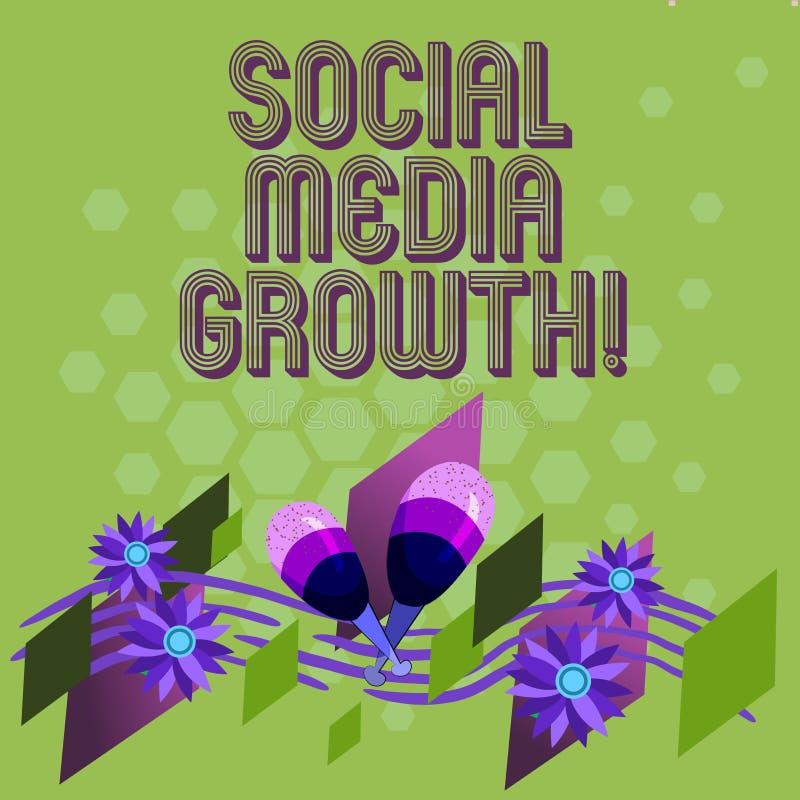 显示社会媒介成长的文本标志 概念性照片营销由五颜六色的互联网和的电视的价值获得 向量例证