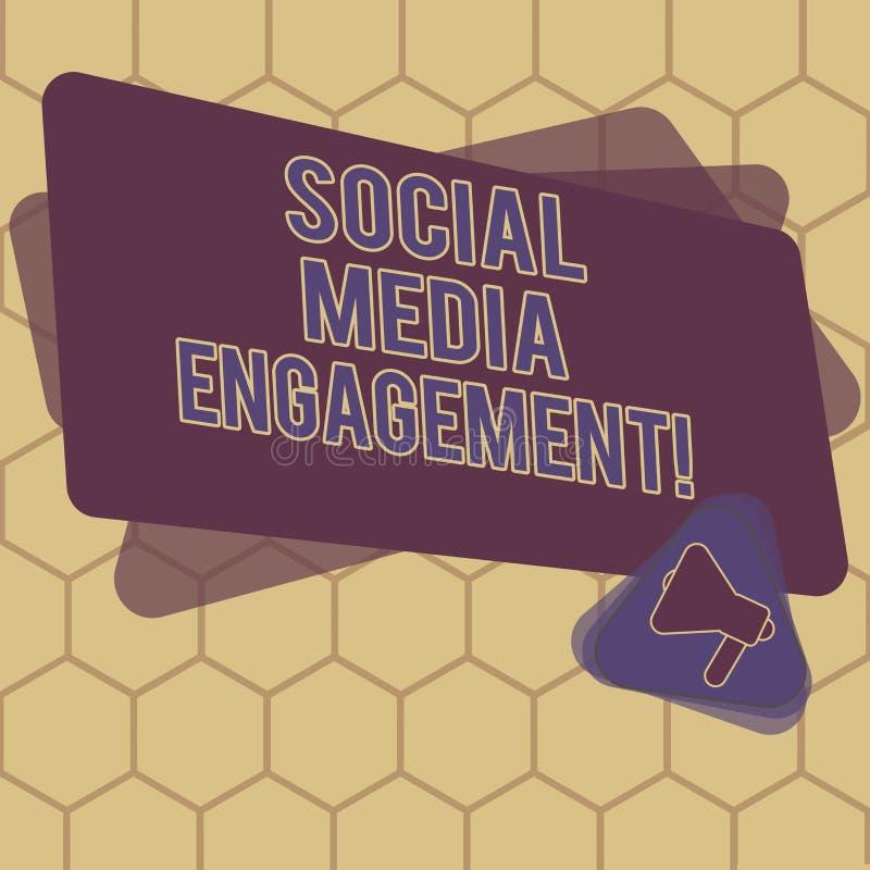 显示社会媒介订婚的概念性手文字 企业沟通在一个联机用户的照片文本 皇族释放例证