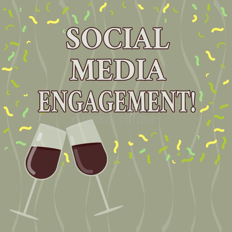 显示社会媒介订婚的概念性手文字 企业沟通在一个联机用户的照片文本 库存例证