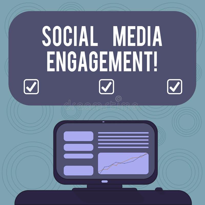显示社会媒介订婚的概念性手文字 企业照片陈列的沟通在一个联机用户平台 向量例证