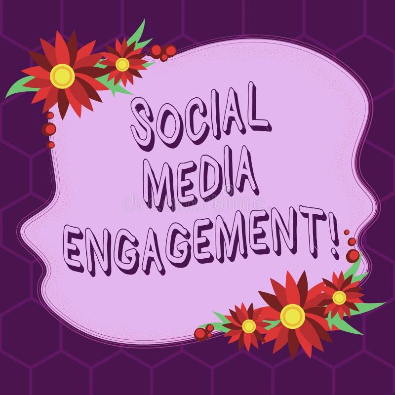 显示社会媒介订婚的概念性手文字 企业照片陈列的沟通在一个联机用户 库存例证