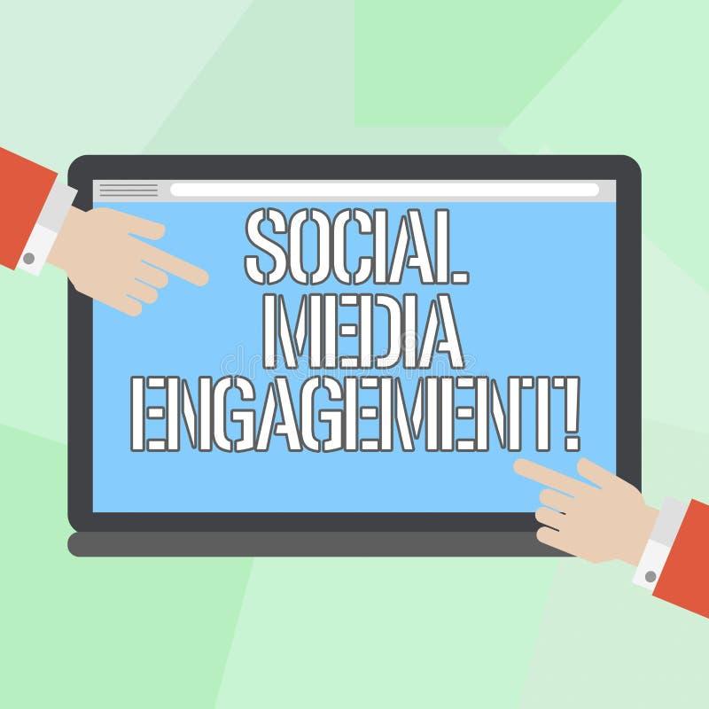显示社会媒介订婚的概念性手文字 企业照片陈列的沟通在一个联机用户 皇族释放例证