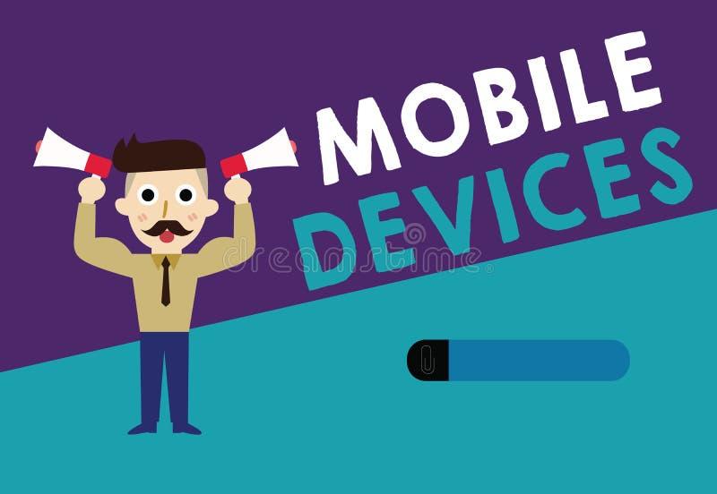显示移动设备的文字笔记 陈列A便携式的计算的设备的企业照片喜欢智能手机片剂计算机 向量例证