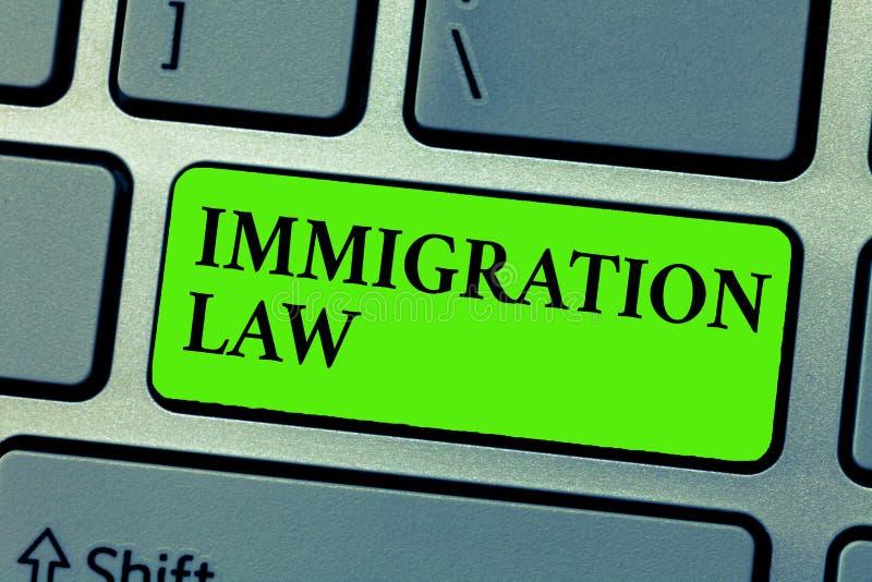 显示移民法律的概念性手文字 企业照片公民的文本移出将是合法的在做旅行 皇族释放例证