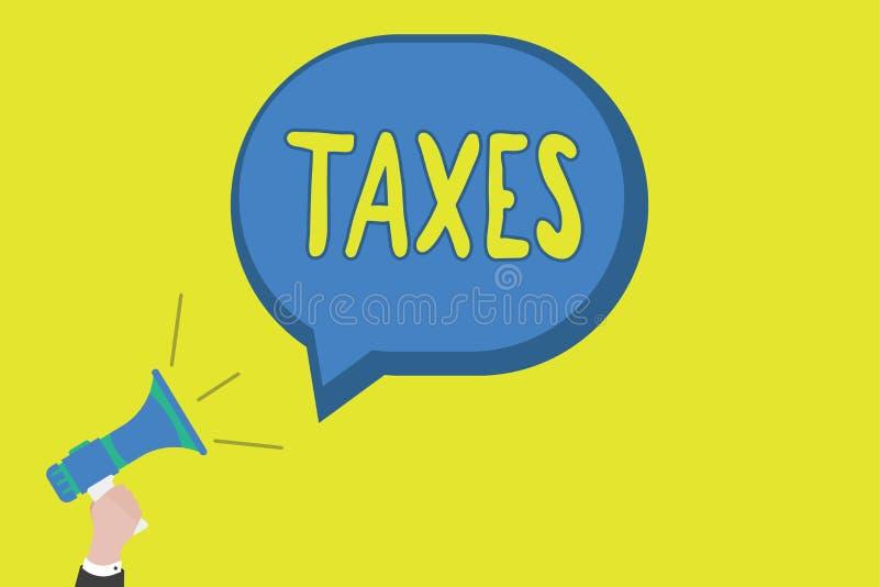 显示税的概念性手文字 陈述收支的企业照片陈列的贡献征收由工作者的公司政府 免版税库存图片