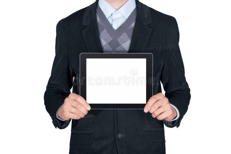 显示空白的数字式片剂的人 免版税图库摄影