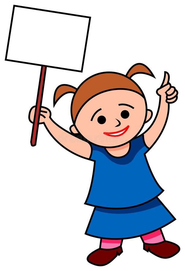 显示空白的标志的女孩 皇族释放例证