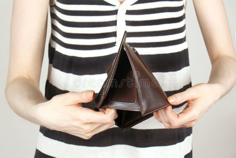 显示空的钱包 库存图片