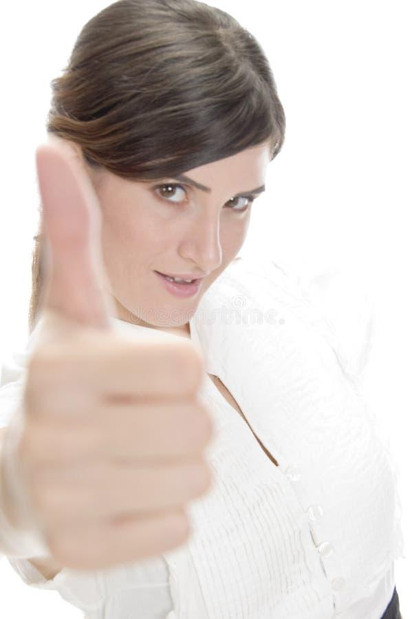 显示符号微笑的审批夫人 库存照片